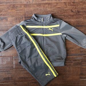 12M Puma Track Jacket & Pants (Grey & Neon Yellow)